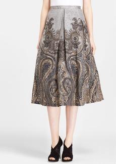 Tracy Reese Invert Pleat Print Linen & Silk Skirt