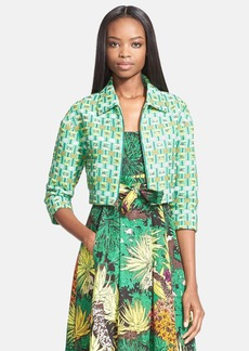 Tracy Reese 'Kelly' Raffia Check Crop Jacket