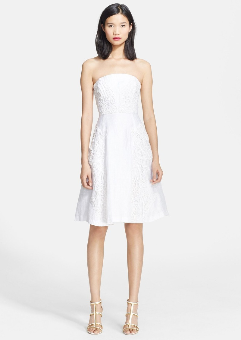 Tracy Reese Lace Appliqué Linen Blend Dress