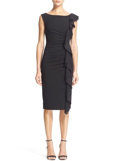 Tracy Reese Lace Ruffle Ruched Shift Dress