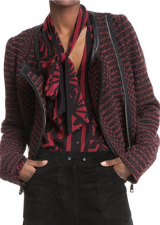 TRACY REESE Leather-Trimmed Knit Jacket