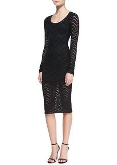 Tracy Reese Long-Sleeve Chevron Lace Sheath Dress