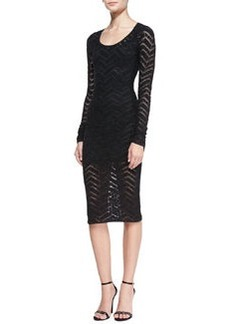 Tracy Reese Long-Sleeve Chevron Lace Sheath Dress