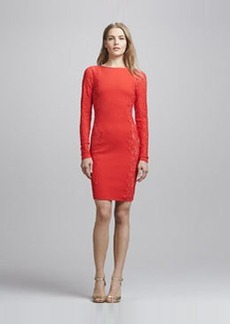 Tracy Reese Long-Sleeve Lace-Panel Dress