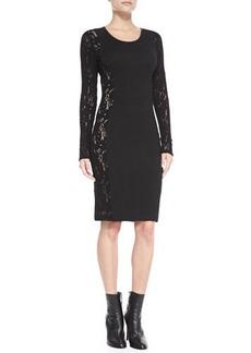 Tracy Reese Long-Sleeve Lace-Side Sheath Dress, Black