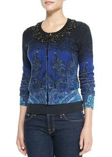 Tracy Reese Long-Sleeve Printed Beaded-Neck Cardigan