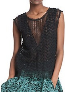 TRACY REESE Mesh Glitter Blouse