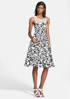 Tracy Reese Mesh Yoke Print Fit & Flare Dress