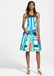 Tracy Reese Mesh Yoke Print Fit & Flare Dress