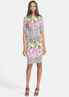 Tracy Reese Mixed Print Stretch Silk T-Back Dress