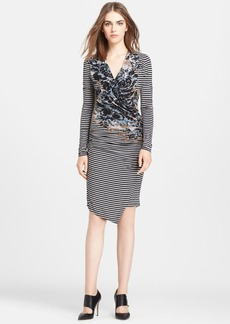 Tracy Reese Mixed Print Surplice Jersey Dress