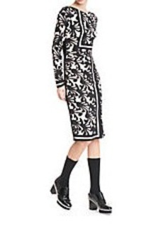 TRACY REESE Patterned Silk Stretch Sheath Dress