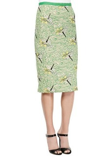 Tracy Reese Pencil Skirt with Dragonfly Embellishment