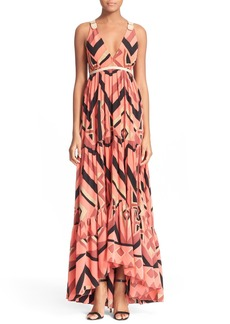 Tracy Reese Plunging V-Neck Silk Maxi Dress