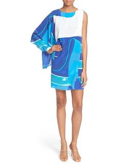 Tracy Reese Print Cascade Silk Shift Dress