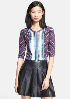 Tracy Reese Print Cotton Crop Cardigan