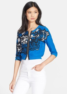 Tracy Reese Print Front Zip Cardigan