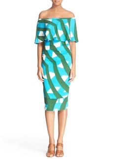 Tracy Reese Print Off the Shoulder Flounce Dress