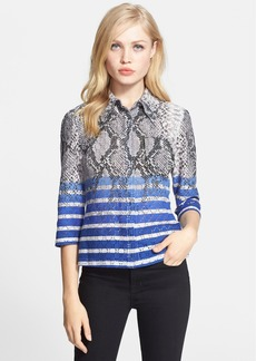 Tracy Reese Print Pointelle Stitch Shirt