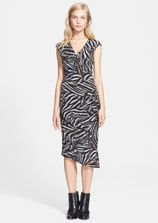 Tracy Reese Print Ruched Jersey Dress