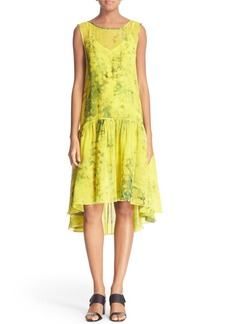 Tracy Reese Print Silk Flounce Dress
