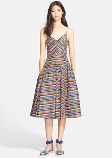 Tracy Reese Print Silk Satin Fit & Flare Dress