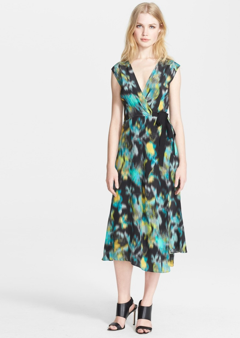 Tracy Reese Print Silk Surplice Dress
