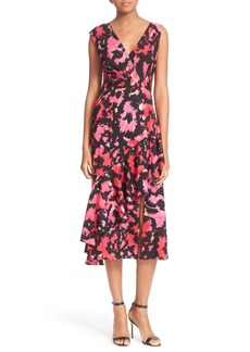 Tracy Reese Print Surplice Flounce Dress