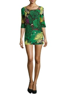 Tracy Reese Printed 3/4-Sleeve Mini Dress