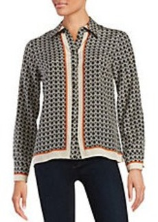 TRACY REESE Printed Silk Button Front Blouse