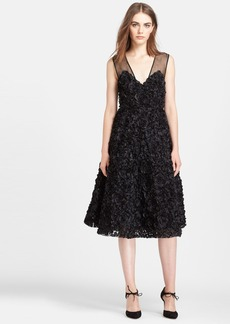Tracy Reese Rose Appliqué Silk Georgette Dress
