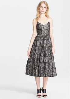 Tracy Reese Rose Detail Metallic Tulle Slipdress