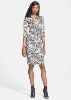 Tracy Reese Rose Print Stretch Crepe Sheath Dress