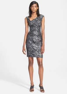 Tracy Reese Ruched Floral Jacquard Taffeta Sheath Dress