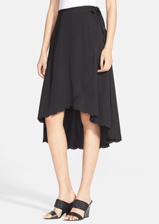 Tracy Reese Scalloped Satin Wrap Skirt