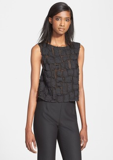 Tracy Reese Scoop Back Crinkled Appliqué Tank