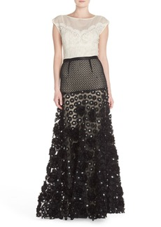 Tracy Reese Sequin Appliqué Woven Fit & Flare Gown