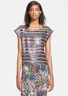 Tracy Reese Sequin Embellished Cap Sleeve Top