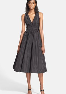 Tracy Reese Shirred Satin Fit & Flare Dress