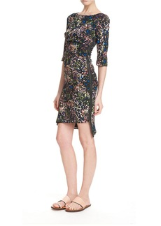TRACY REESE Side Zip Feather Printed Dress