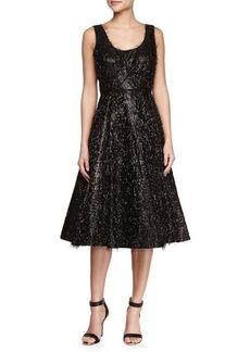 Tracy Reese Sleeveless Beaded & Eyelash Fringe Cocktail Dress
