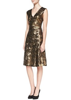 Tracy Reese Sleeveless Sequined Lace-Back Cocktail Dress