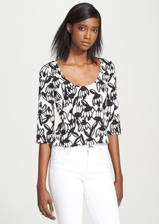 Tracy Reese Split Back Print Crepe Shirt