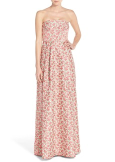 Tracy Reese Strapless Floral Ballgown