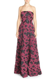Tracy Reese Strapless Pleat Jacquard Gown