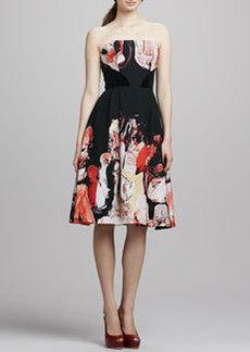 Tracy Reese Strapless Printed Full-Skirt Dress