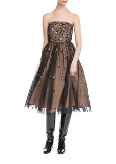 TRACY REESE Strapless Tulle Fit-and-Flare Cocktail Dress
