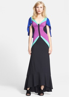 Tracy Reese Stretch Crepe Fit & Flare Maxi Dress