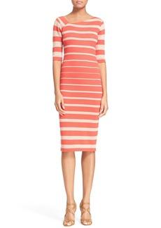 Tracy Reese Stripe Asymmetrical Neckline Sheath Dress