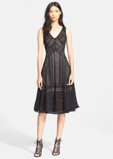Tracy Reese Stripe Lace Fit & Flare Dress